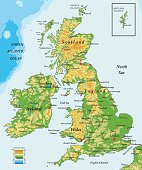 Highly detailed physical map of United Kingdom