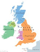 United Kingdom countries and Ireland political map. England, Scotland, Wales, Northern Ireland, Guernsey, Jersey, Isle of Man and their capitals in different colors. Illustration on white background.