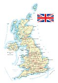 Large detailed road map of Great Britain