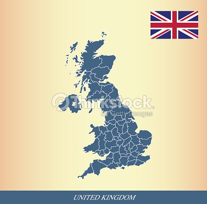 United Kingdom Map And Flag Outline Vector Vector Art Thinkstock - United kingdom map vector