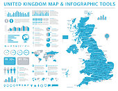 United Kingdom Map - Detailed Info Graphic Vector Illustration