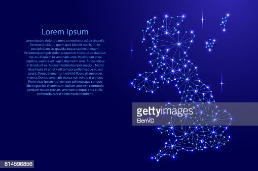 United Kingdom map of polygonal mosaic lines network, rays and space stars of vector illustration. : Vector Art