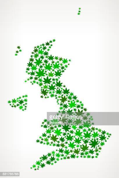 United Kingdom Map royalty free vector Marijuana Leaves Weed graphic
