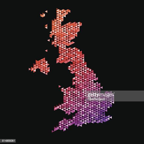 United Kingdom Map Triangle Pattern Orange