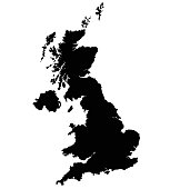 United Kingdom map vector outline. Isolated on black