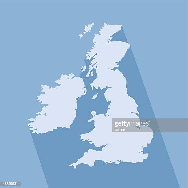 United Kingdom simple map on blue background