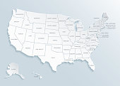 United State of America (U.S.A.) map with city names. Vector.