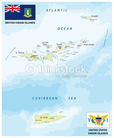 United States And British Virgin Islands Vector Map With Flags Stock - Map-us-virgin-islands-and-british-virgin-islands