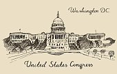 United States Capital Hill Capitol dome in Washington DC hand drawn vector illustration sketch engraved style