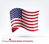 Vector waving flag illustration of United States for international dialogue and conflict management.