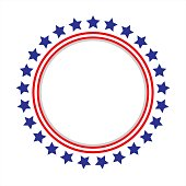 Round frame American flag stylized logo, symbol, emblem