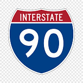USA Interstate highway road sign