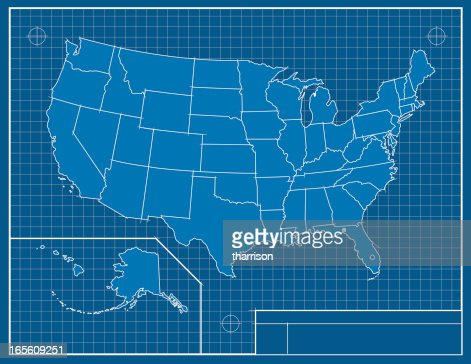 United States Map Blueprint Vector Art Getty Images - Us map blueprint