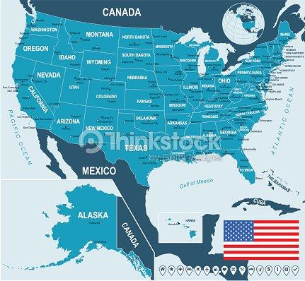 United States Map Flag And Navigation Labels Illustration Vector Art ...