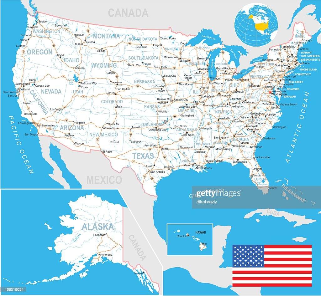 United States Map Flag Navigation Labels Roads Illustration Vector