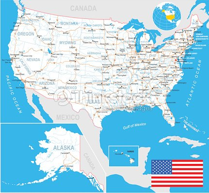 United States Map Flag Navigation Labels Roads Illustration Stock - Us-map-with-labels