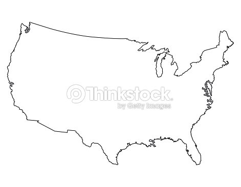 United States Map High Detailed Border Vector Art Thinkstock - Us map with states vector