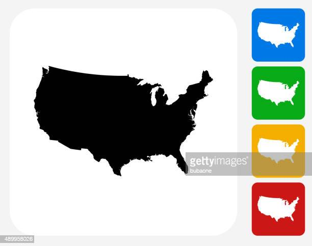 United States Map Icon Flat Graphic Design