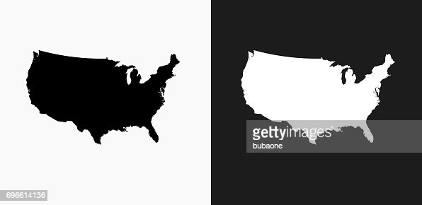 United States Map Icon On Black And White Vector Backgrounds - Us map vector black and white