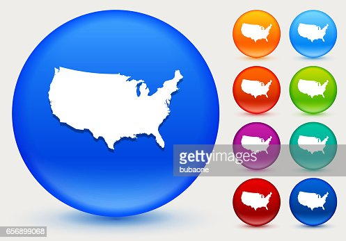 United States Map Icon On Shiny Color Circle Buttons Vector Art - Us map icon