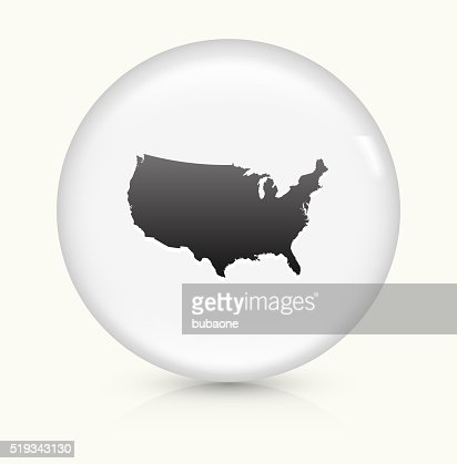 United States Map Icon On White Round Vector Button Vector Art - Us map icon