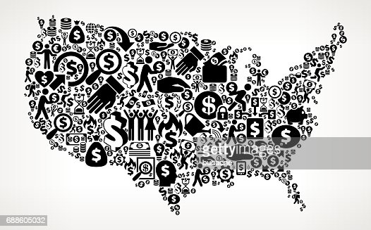 United States Map Money And Finance Black And White Icon - Us money map