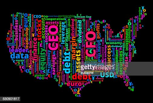 United States Map On Business And Finance Word Cloud Vector Art - Us map business