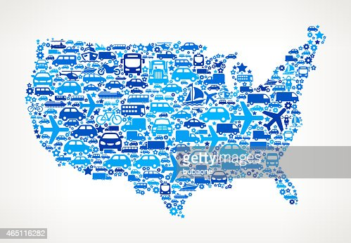 United States Map On Transportation Royalty Free Vector Art - Free vector us map with states