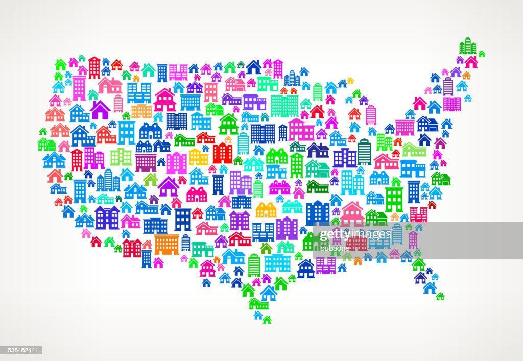 United States Map Real Estate Interface Icon Pattern Vector Art - Us map icon
