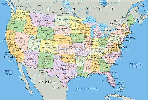 United States Of America Highly Detailed Editable Political Map - Atlantic ocean on us map