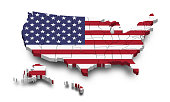 United states of america map and flag . 3D shape design . Independence day of USA concept . Perspective view . Vector .