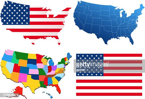 United States Of America Map And Flag Vector Art Getty Images - United state of america map