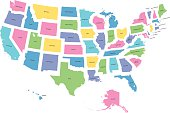highly detailed map of all fifty states of USA.