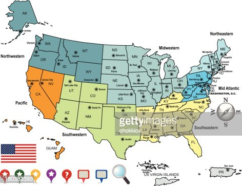 Colored Map Of The United States Of America And Territories Vector - Us map of midwest states