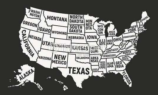 미국 지도 국가 이름입니다. 미국 배경입니다. 벡터 일러스트 레이 션 : 벡터 아트