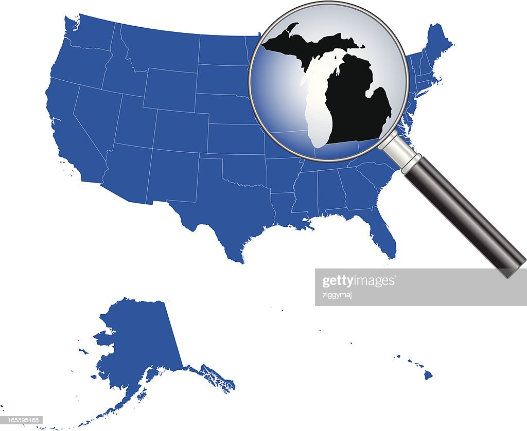 United States Of America Michigan Map Vector Art Getty Images - Michigan us map
