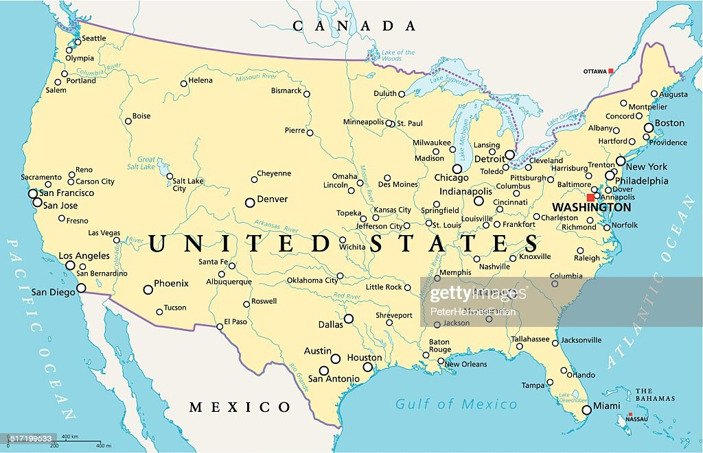 United States Of America Political Map Vector Art Thinkstock
