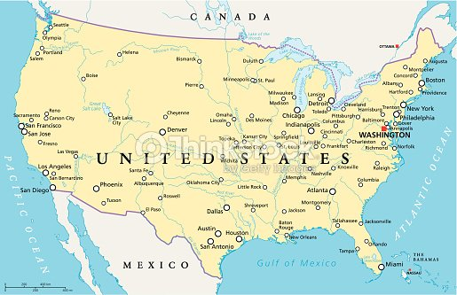 United States Of America Political Map Vector Art Thinkstock - Los angeles map vector