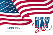 United States Presidents Day Sale special offer banner template with waving american national flag. Holiday commerce background for business, promotion and advertising. Vector illustration.