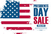 United States Presidents Day Sale special offer banner with brush stroke background in american national flag colors. Vector illustration.