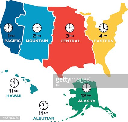 Usa Time Zone Map Vector Art Getty Images - Time zones in the usa map