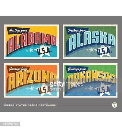 United States vintage typography postcards. Alabama, Alaska, Arizona, Arkansas : clipart vectoriel