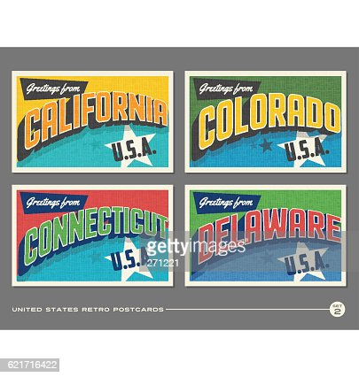 United States vintage typography postcards featuring California, Colorado, Connecticut, Delaware : clipart vectoriel