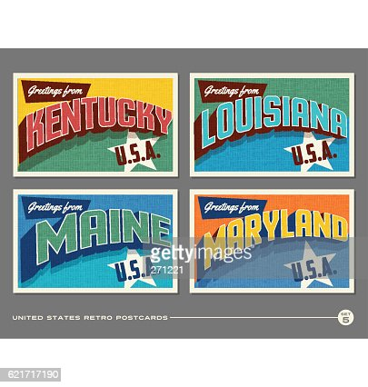 United States vintage typography postcards featuring Kentucky, Louisiana, Maine, Maryland : clipart vectoriel