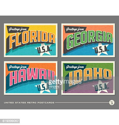 United States vintage typography postcards. Florida, Georgia, Hawaii, Idaho : clipart vectoriel