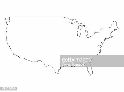 America Map Drawing.Unites State Map Outline Graphic Freehand Drawing On White