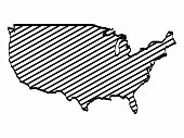 Unites State map outline graphic freehand drawing on white background. Sketch US of America icon. Vector illustration.