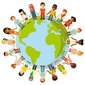 Different international multicultural children standing together and holding hands around the world