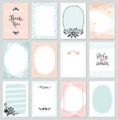 Contemporary universal cards templates. Geometric, oval, rectangular, dots and decorative frames and borders. Floral wreaths and branches, birds and flowers. Design for invitations, posters, placards,