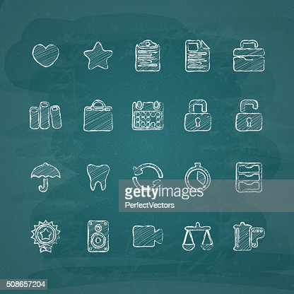 Universal Chalk Icons in doodle style 5 : Vector Art
